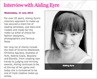 Aisling Eyre Make up Artist Interview RTE